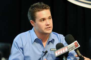 Ricky Stenhouse Jr., driver of the No. 6 Roush Fenway Racing Ford in the NASCAR Sprint Cup Series and the NASCAR Nationwide Series, speaks with the media during the 2012 NASCAR Sprint Cup Series Media Tour hosted by Charlotte Motor Speedway on Tuesday in Concord, N.C. - Photo Credit: Jared C. Tilton/Getty Images for NASCAR