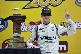 Kasey Kahne, driver of the #4 Rockwell Tools Chevrolet, celebrates in victory lane after winning the Good Sam Roadside Assistance 200 at Rockingham Speedway on April 15, 2012 in Rockingham, North Carolina. - Photo Credit: Rainier Ehrhardt/Getty Images for NASCAR