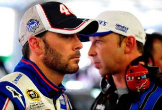 Jimmie Johnson with Crew Chief Chad Knaus - Photo Credit: Jamey Price/Getty Images for NASCAR