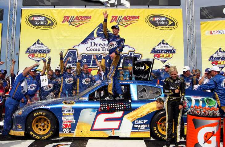 Brad Keselowski and the No. 2 Miller Lite Penske Dodge team celebrate in Victory Lane after the NASCAR Sprint Cup Series Aaron's 499 on Sunday in Talladega, Ala. - Photo Credit: Jerry Markland/Getty Images for NASCAR