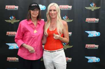 Chairman of the Board of the Indianapolis Motor Speedway, Mari Hulman-George with Susie Wheldon hold her late husband, Dan Wheldon's 2011 Indianapolis 500 Winner's Ring - Photo by: Chris Jones