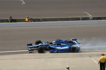 Alex Tagliani burns out from pit box -- Photo by: Jim Haines for IMS