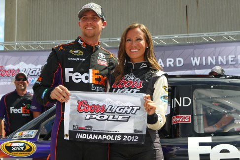 Denny Hamlin with Miss Coors Light - Photo Credit: Chris Jones