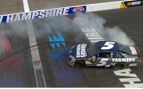 Kasey Kahne, driver of the No. 5 Farmers Insurance Chevy does a victory burnout after winning the 2012 NSCS LENOX Tools 301 - Photo Credit: Getty Images for NASCAR