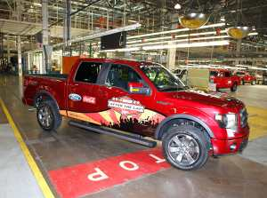 A NASCAR After The Lap Launch branded 2013 Ford F-150 FX4 sits at the Ford Dearborn truck plant on August 16th in Dearborn Michigan. - Photo Credit: Gregory Shamus/Getty Images