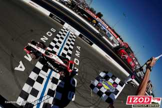 Ryan Briscoe takes the Checkered Flags for victory - Photo Credit: INDYCAR/LAT USA