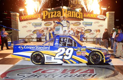 Ryan Blaney, driver of the #29 Cooper Standard Ram, celebrates after winning the NASCAR Camping World Truck Series American Ethanol 200 race at Iowa Speedway on September 15, 2012 in Newton, Iowa. - Photo Credit: Sean Gardner/Getty Images for NASCAR