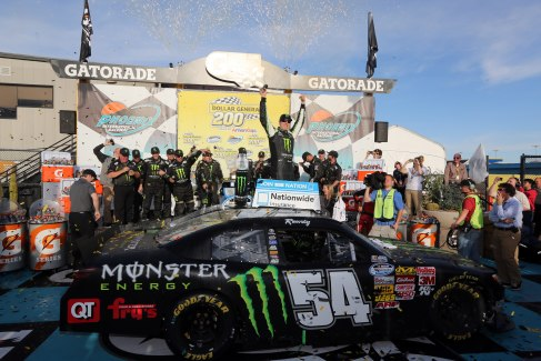 Kyle Busch, driver of the #54 Monster Toyota, celebrates in victory lane during the NASCAR Nationwide Series Dollar General 200 fueled by AmeriGas at Phoenix International Raceway on March 2, 2013 in Avondale, Arizona. - Photo Credit: Jerry Markland/Getty Images