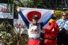 2013 IICS Driver Takuma Sato Displays His Country Japan's Flag in Victory Lane in Long Beach - Photo Credit: INDYCAR