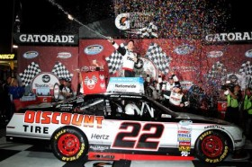 Brad Keselowski, driver of the #22 SKF / Discount Tire Ford, celebrates in Victory Lane after winning the NASCAR Nationwide Series ToyotaCare 250 at Richmond International Raceway on April 26, 2013 in Richmond, Virginia. - Photo Credit: Todd Warshaw/Getty Images