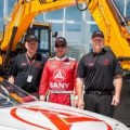 TBR co-owners Al Heinke and Tommy Baldwin with Dave Blaney during their visit to SANY Headquarters