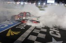 Kyle Busch celebrates with a burnout after winning the North Carolina Education Lottery 200 at Charlotte Motor Speedway on Friday, May 17. (CMS/HHP Photo)