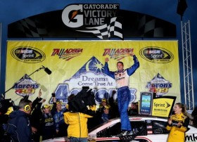David Ragan, driver of the #34 Farm Rich Ford, celebrates in victory lane after winning the NASCAR Sprint Cup Series Aaron's 499 at Talladega Superspeedway on May 5, 2013 in Talladega, Alabama. - Photo Credit:Jerry Markland/Getty Images