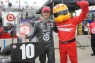 Dario Franchitti Poses with the Firestone Firehawk and Pole Award - Photo Credit: Firestone Racing