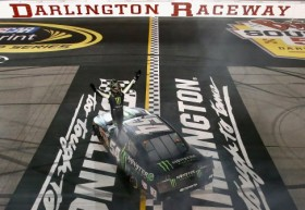 Kyle Busch, driver of the #54 Monster Energy Toyota, celebrates after performing a burnout following his win in the NASCAR Nationwide Series VFW Sport Clips Help A Hero 200 at Darlington Raceway on May 10, 2013 in Darlington, South Carolina. - Photo Credit: Jonathan Ferrey/Getty Images