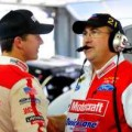 2013 NSCS No. 21 Motorcraft/Quick Lane Ford Crew Chief Donnie Wingo (right) speaks with driver Trevor Bayne (left) - Photo Credit: Jamey Price/Getty Images