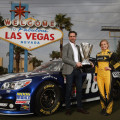NASCAR Sprint Cup Champion Jimmie Johnson, driver of the #48 Lowe's Chevrolet and Miss Sprint Cup Brooke Werner pose for a photo at the 'Welcome to Fabulous Las Vegas' sign on December 3, 2013 in Las Vegas, Nevada. Johnson is in Las Vegas for a week of 2013 NASCAR Sprint Cup Championship activities. - Photo Credit: Tom Pennington/Getty Images
