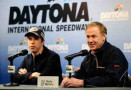 Brad Keselowski(L), driver of the #2 Miller Lite Ford, and Rusty Wallace, NASCAR Hall of Fame Inductee, speak with the media during a press conference during NASCAR Preseason Thunder at Daytona International Speedway - Photo Credit: Jared C. Tilton/Getty Images