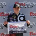 Kyle Larson, driver of the #42 Cartwheel Chevrolet, celebrates winning the pole award after qualifying for the NASCAR Nationwide Series Drive To Stop Diabetes 300 at Bristol Motor Speedway on March 15, 2014 in Bristol, Tennessee. - Photo Credit: Drew Hallowell/Getty Images