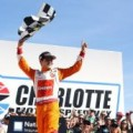 Kyle Larson celebrates in Victory Circle after winning Saturday's HISTORY 300 at Charlotte Motor Speedway (Photo Credit: Charlotte Motor Speedway)