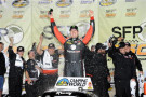 Kyle Busch, driver of the #51 ToyotaCare Toyota, celebrates in victory lane after winning the NASCAR Camping World Truck Series SFP 250 at Kansas Speedway on May 9, 2014 in Kansas City, Kansas. - Photo Credit: Jared C. Tilton/Getty Images