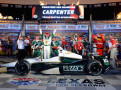 Ed Carpenter, driver of the #20 Fuzzy's Vodka/Ed Carpenter Racing Dallara Chevrolet, celebrates in victory lane after winning the Verizon IndyCar Series Firestone 600 at Texas Motor Speedway on June 7, 2014 in Fort Worth, Texas. - Photo Credit: Robert Laberge/Getty Images