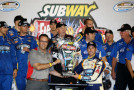Kasey Kahne, driver of the #5 Hellmann's Chevrolet, celebrates in Victory Lane with Jared Fogle of Subway after winning the NASCAR Nationwide Series Subway Firecracker 250 Powered by Coca-Cola at Daytona International Speedway on July 4, 2014 in Daytona Beach, Florida. - Photo Credit: Chris Graythen/Getty Images