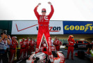 Scott Dixon, driver of the #9 Target Chip Ganassi Racing Chevrolet IndyCar V6 celebrates his victory Sunday, August 3, 2014 during the IndyCar Series race at Mid Ohio Raceway in Lexington, Ohio. It's Dixon's first victory of the season. (Photo by Michael L. Levitt/LAT for Chevy Racing)