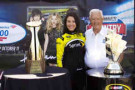 Earlier today, Junior Johnson and Miss Sprint Cup Julianna White kicked off the Bank of America 500 Trophy Tour presented by Coca-Cola and Walmart in Biscoe, N.C. (Credit: CMS Photo)