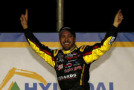 Matt Crafton, driver of the #88 Fisher Nuts/Menards Toyota, celebrates in victory lane after winning the NASCAR Camping World Truck Series Hyundai Construction Equipment 200 on February 28, 2015 in Hampton, Georgia. - Photo Credit: Jeff Zelevansky/Getty Images