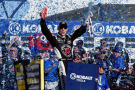 Kevin Harvick, driver of the #4 Jimmy John's/Budweiser Chevrolet, celebrates in Victory Lane after winning the NASCAR Sprint Cup Series Kobalt 400 at Las Vegas Motor Speedway on March 8, 2015 in Las Vegas, Nevada. - Photo Credit: Robert Laberge/Getty Images