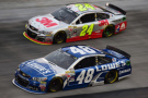 Jeff Gordon, driver of the #24 3M Chevrolet, races Jimmie Johnson, driver of the #48 Lowe's Chevrolet, during the NASCAR Sprint Cup Series Food City 500 at Bristol Motor Speedway on April 19, 2015 in Bristol, Tennessee. - Photo Credit: Jared C. Tilton/Getty Images