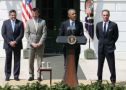 US President Barack Obama (2nd-R) speaks while flanked by NASCAR Champion driver Kevin Harvick (R) Crew Chief Rodney Childers (2nd-L) and owner Tony Stewart (L) during an event to honor the reigning NASCAR Sprint Cup Series champion on the south lawn of the White House April 21, 2015 in Washington, DC. Harvick drives the No. 4 Chevrolet for Stewart-Hass Racing in NASCARs Sprint Cup series. (Photo Credit: Mark Wilson / Getty Images)