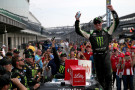 Kyle Busch, driver of the #54 Monster Energy Toyota, celebrates in Victory Lane after winning the NASCAR XFINITY Series Lilly Diabetes 250 at Indianapolis Motor Speedway on July 25, 2015 in Indianapolis, Indiana. - Photo Credit: Brian Lawdermilk/Getty Images
