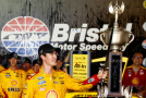 Joey Logano, driver of the #22 Shell Pennzoil Ford, celebrates in Victory Lane after winning the NASCAR Sprint Cup Series IRWIN Tools Night Race at Bristol Motor Speedway on August 22, 2015 in Bristol, Tennessee. - Photo Credit: Jeff Zelevansky/Getty Images