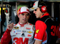 Jeff Gordon, driver of the #24 3M Chevrolet, talks with his crew chief Alan Gustafson in the garage area during practice for the NASCAR Sprint Cup Series Federated Auto Parts 400 at Richmond International Raceway on September 11, 2015 in Richmond, Virginia. - Photo Credit: Jerry Markland/Getty Images