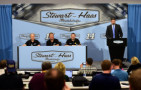 Clint Bowyer (second from left) speaks with the media as (L-R) Gene Haas, co-owner of Stewart-Haas Racing, Tony Stewart, driver of the #14 Stewart-Haas Racing Chevrolet, and Mike Arning with True Speed Communications look on during a press conference announcing the retirement of Tony Stewart on September 30, 2015 in Kannapolis, North Carolina. - Photo Credit: Jared C. Tilton/Getty Images