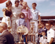 1965 Ned Jarrett in Southern 500 Victory Lane at Darlington Raceway - Photo Credit: NASCAR via Getty Images