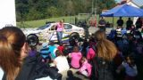 NASCAR K&N Pro Series and ARCA Racing Series driver Sarah Cornett-Ching chats with children at Tim Horton Children's Foundation (THCF) Camp Kentahten in Campbellsville, Kentucky on Wednesday.