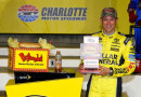 Matt Kenseth, driver of the #20 Dollar General Toyota, poses with the Coors Light Pole Award after after qualifying on the pole for the NASCAR Sprint Cup Series Bank of America 500 at Charlotte Motor Speedway on October 8, 2015 in Charlotte, North Carolina. - Photo Credit: Jonathan Ferrey/Getty Images