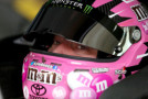 Kyle Busch, driver of the #18 M&M's Pretty In Pink Foundation Toyota, sits in his car during practice for the NASCAR Sprint Cup Series Bank of America 500 at Charlotte Motor Speedway on October 9, 2015 in Charlotte, North Carolina. - Photo Credit: Streeter Lecka/Getty Images